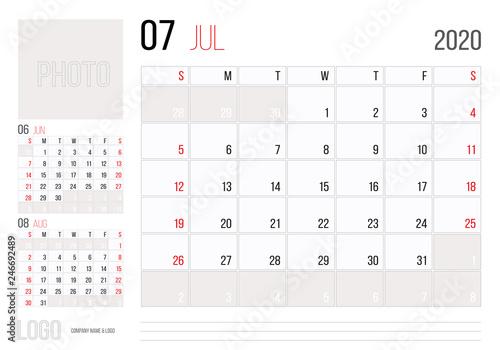 July Calendar 2020.Calendar 2020 Planner Corporate Template Design July Week Starts On