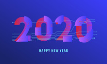 2020 Happy New Year Abstract Electronical Virtual Reality Card Design