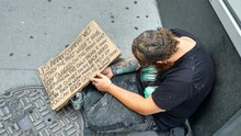 Homeless Person In USA. New Y...