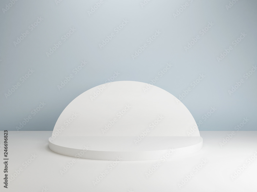 Fototapety, obrazy: Podium in abstract room, blue room, 3d render, 3d illustration