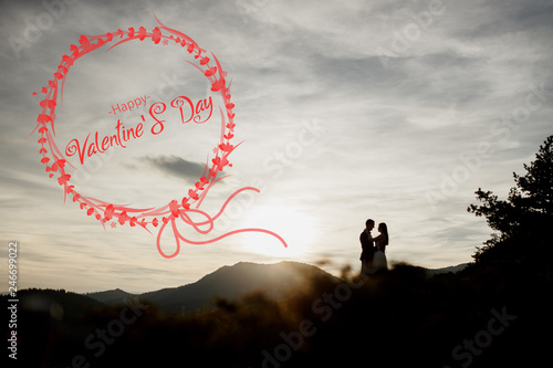 Photo silhouettes of a couple, at sunset, for commercials and banners, valentine day