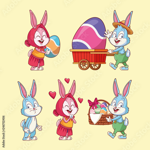 easter eggs and rabbits - Buy this stock vector and explore similar