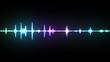 Leinwandbild Motiv Multicolor waveform spectrum, imagination of voice record, artificial intelligence, 3d illustration