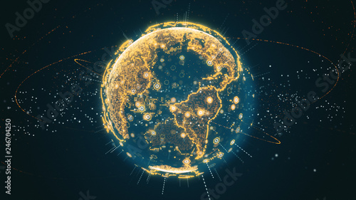 Obraz 3d illustration of Digital planet earth data abstract of a technological data network transmitting communication, complexity and data flow of the modern digital era - fototapety do salonu