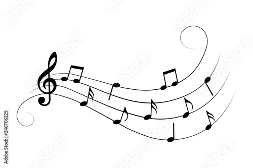 Musical notes, symbols, vector illustration. © Vectorry