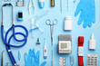 canvas print picture - Flat lay composition with medical objects on color background