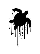 Graffiti Tropfen Meeresschildkröte Silhouette Umriss Schatten Wasserschildkröte Schildkröte Wasser Turtle Schwimmen Meer Flossen Clipart Design Schön Panzer Tattoo Logo