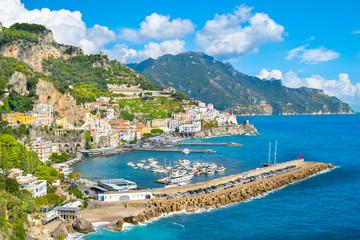 Beautiful view of the Amalfi city in Amalfi coast - Italy