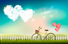 Valentine's Day Background With A Heart Shaped Clouds And A Bicycle. Vector.
