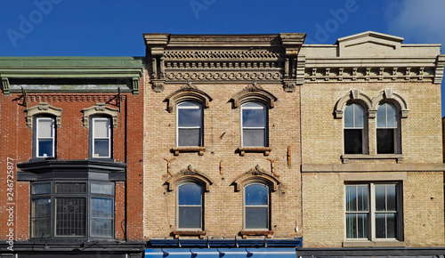 Facades of preserved 19th century commercial buildings of