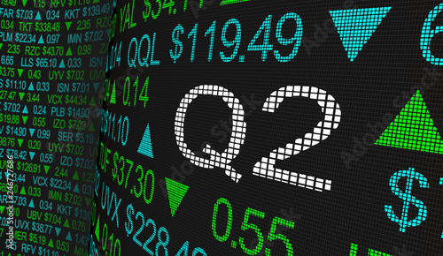 Fototapeta Q2 2nd Quarter Period Stock Market Ticker Words 3d Illustration obraz
