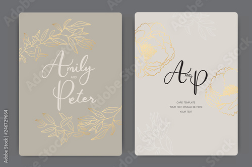 Fototapety, obrazy: Wedding Invitation, floral invite thank you, rsvp modern card Design in golden rose leaf greenery  branches decorative Vector elegant rustic template