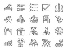 Election Line Icon Set. Includ...