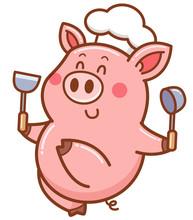 Vector Illustration Of Cartoon Chef Pig