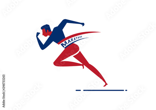 Man sprint running to win design.on white background
