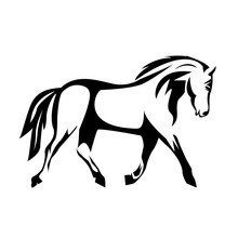 Creative Illustration Of A Horse Vector Silhouette