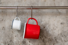 Red And White Tin Cup Hanging ...