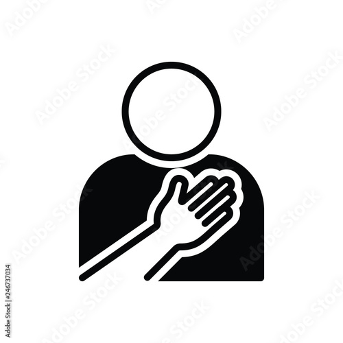 Fotografia  Black solid icon for sincerity