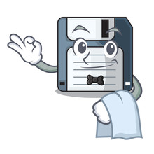 Waiter Floppy Disk In The Character Funny
