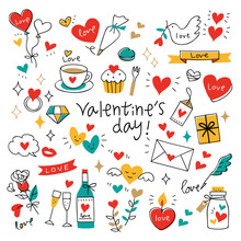 Set Of Valentine's Elements Colorful