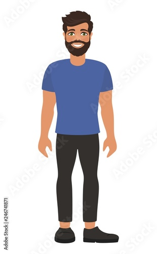 Handsome Bearded Man In Blue T Shirt And Dark Jeans Brown Hair And