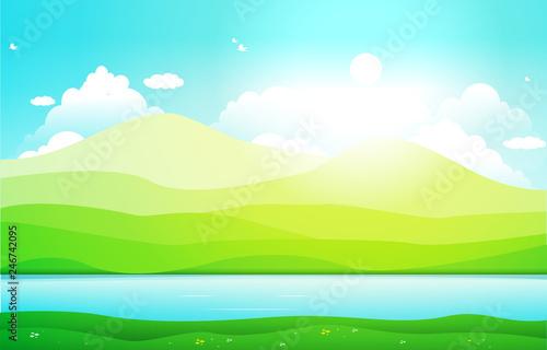 Foto op Plexiglas Groene Mountains Hills Lake Green Nature Landscape Sky