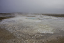 Hot Steam Coming From The Boiling Water In The Central Iceland In The Geothermal Area Of Hveravellir.
