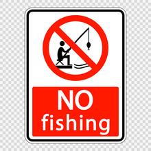 Symbol  No Fishing Sign Label On Transparent Background