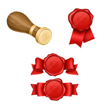 Red Wax Seals With Ribbon And ...
