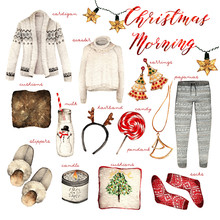 Watercolor Fashion Illustration. Set Of Trendy Accessories.Christmas Morning. Cardigan,sweater,pajamas,earrings,cushions,milk,hair Band,candy,pendant, Slippers,candle,socks