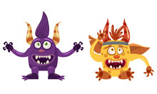 Troll Bigfoot And Imp Cute Funny Fairytale Character, Emotions, Cartoon Style, For Books, Advertising, Stickers, Vector, Illustration, Banner, Isolated