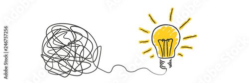 Obraz scribble to light bulb idea - fototapety do salonu
