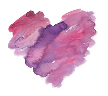 Big Abstract Pink And Purple Heart Painted With Brush Strokes. Illustration In Watercolor On Clean White Background