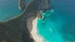 Aerial view Kelingking Beach on Nusa Penida Island, Bali, Indonesia