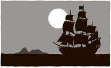 Old Sea Pirate Sailing Ship Dr...