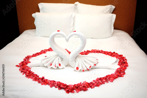 Red Roses Heart Shaped On Bed Wedding Room Stock Photo Adobe Stock
