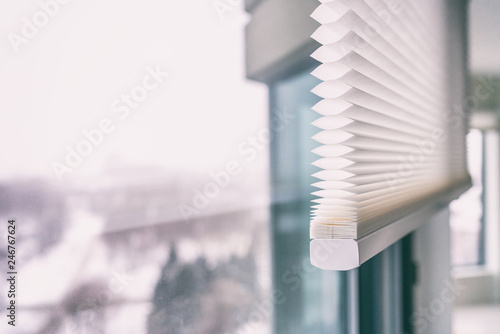 Leinwanddruck Bild - Maridav : Home blinds - cordless cellular honeycomb pleated shade modern shades on apartment windows. Automated curtains blind.