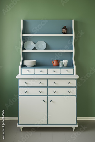 Fotografía  3D illustration of retro cupboard in country style in a room.