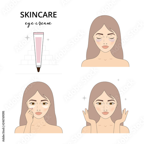 Beautiful woman take care about her face  Illustrated steps how to