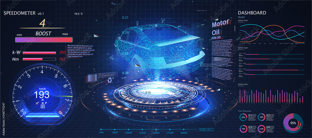 Fototapety, obrazy: Futuristic car user interface. HUD UI. Hologram of the car, scanning. Abstract virtual graphic touch user interface. Car service in the style of HUD UX GUI. Virtual graphical interface. Vector