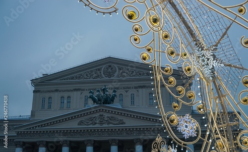 Spoed Foto op Canvas Theater Christmas lights at the Bolshoi theatre