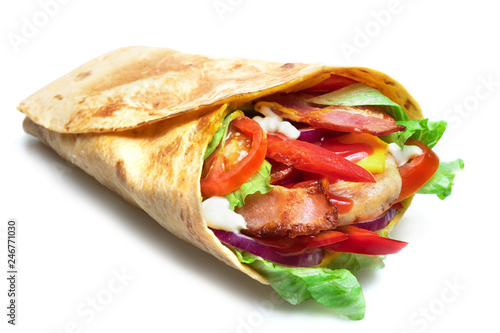 Staande foto Snack Shawarma sandwich isolated on white background. Gyro fresh roll with pita with grilled chicke, lettuce salad, bacon, tomato, sauces, cheese and vegetables.