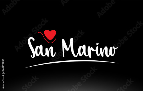 San Marino country text typography logo icon design on black ...