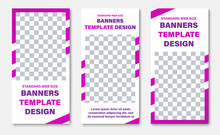 Template Of White Vertical Web Banners With Rectangle For Photos And Purple Diagonal Lines.