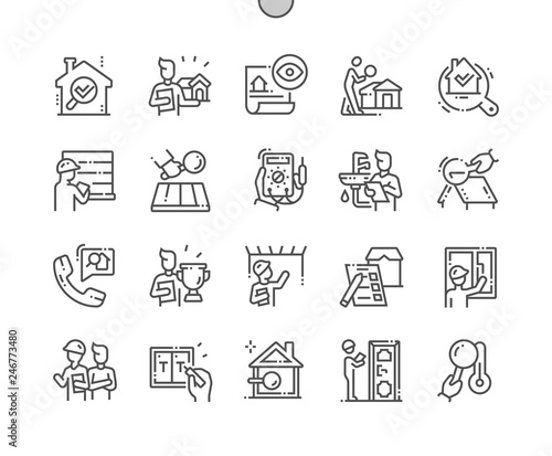 Fotografie, Tablou Home inspections Well-crafted Pixel Perfect Vector Thin Line Icons 30 2x Grid for Web Graphics and Apps