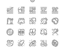 Swimming Well-crafted Pixel Perfect Vector Thin Line Icons 30 2x Grid For Web Graphics And Apps. Simple Minimal Pictogram