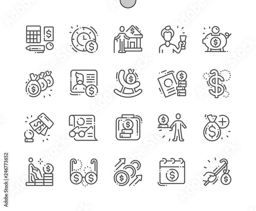Canvas Print Pension Funds Well-crafted Pixel Perfect Vector Thin Line Icons 30 2x Grid for Web Graphics and Apps