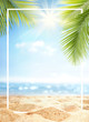 canvas print picture Summer background with frame, nature of tropical golden beach with rays of sun light and leaf palm. Golden sand beach close-up, sea,  blue sky, white clouds. Copy space, summer vacation concept.