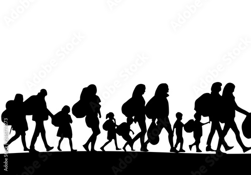 Silhouette of a group of refugees - Vector Wallpaper Mural