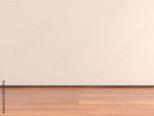 Poster Wall Empty room with parquet floor and walls Room Wall, 3d Rendering